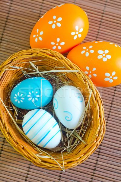Foto d'archivio: Easter · eggs · fiori · primavera · legno · design · uovo