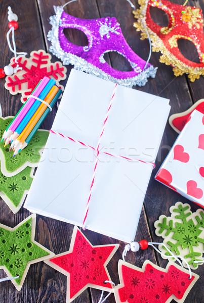 Natal decoração mesa de madeira projeto fundo verde Foto stock © tycoon