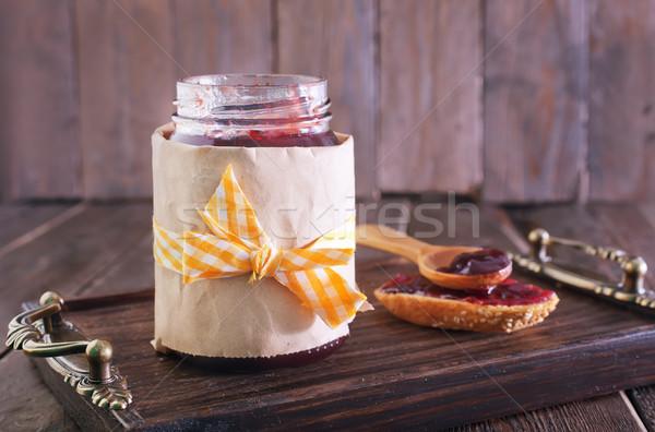 Сток-фото: Jam · стекла · банку · таблице · фрукты · хлеб