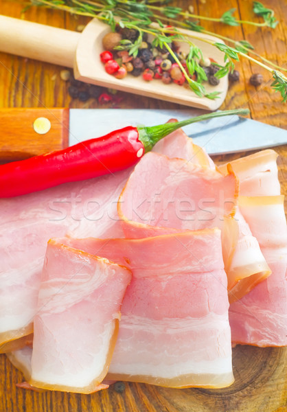 Domuz pastırması et hizmet salata yağ yemek Stok fotoğraf © tycoon