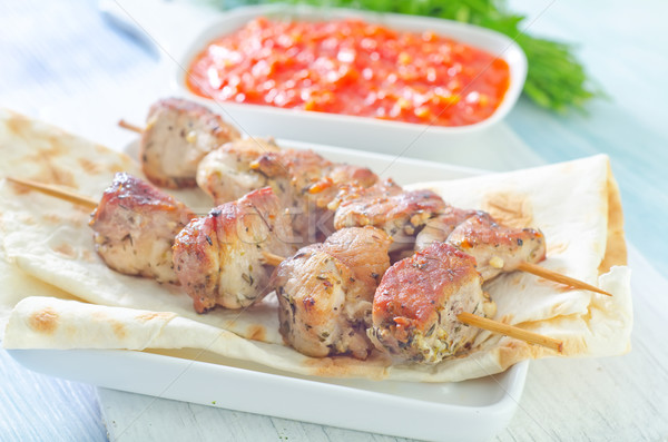 Kebab voedsel groene diner Rood vet Stockfoto © tycoon