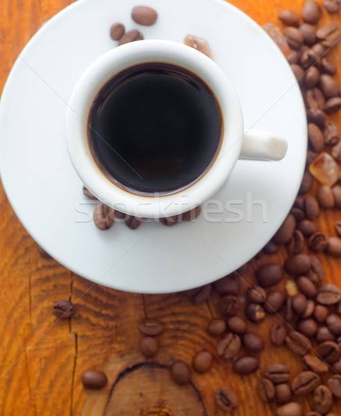Fresh aroma coffee in the white cup, coffee and cinnamon Stock photo © tycoon