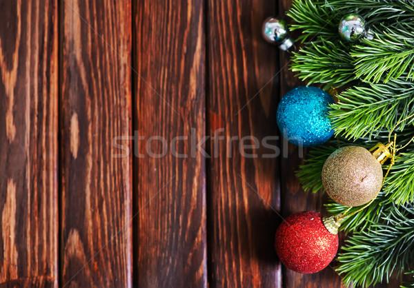 Natal decoração mesa de madeira luz fundo tabela Foto stock © tycoon