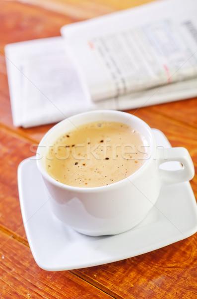 Stok fotoğraf: Kahve · gazete · haber · gözlük · içmek · çalışma