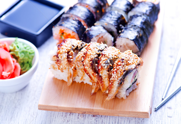 Taze sushi tepsi tablo gıda Japon Stok fotoğraf © tycoon