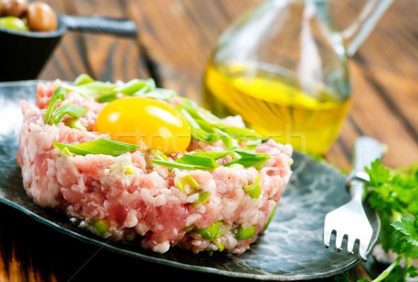 мяса Spice сырой желток продовольствие фон Сток-фото © tycoon