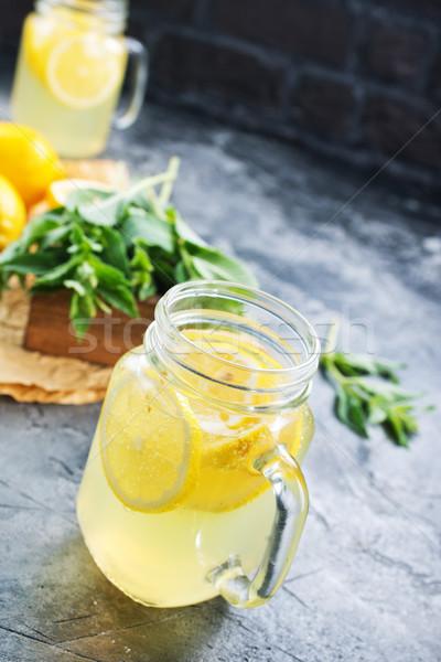 Limonade frischen mint Tabelle Wasser Blatt Stock foto © tycoon