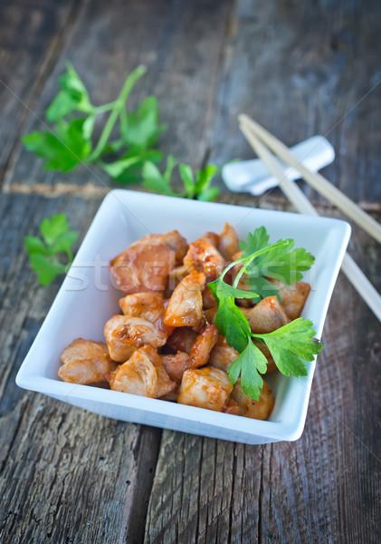 Vlees kom tabel kip diner Stockfoto © tycoon