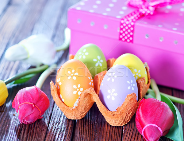 easter eggs and flowers Stock photo © tycoon