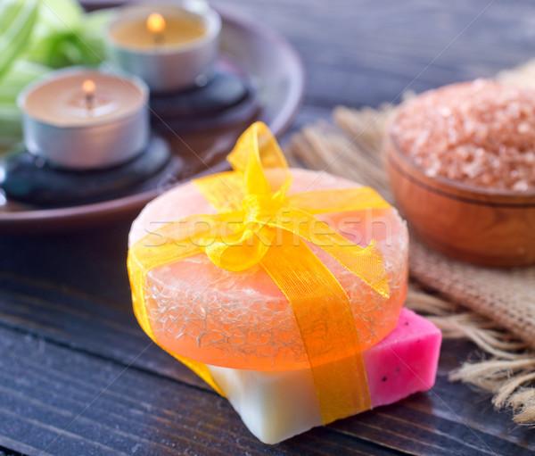 Fürdő tárgyak szappan textúra tűz fa Stock fotó © tycoon