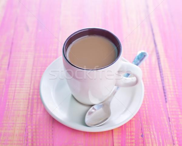 Kahve süt gıda ahşap sanat uzay Stok fotoğraf © tycoon