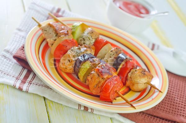 ケバブ 表 緑 赤 肉 サラダ ストックフォト © tycoon