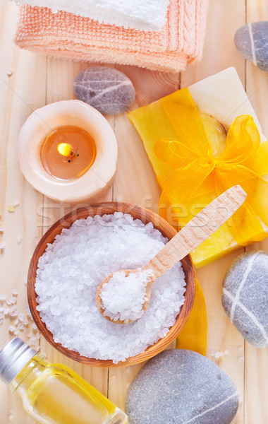 sea salt, soap and towels Stock photo © tycoon
