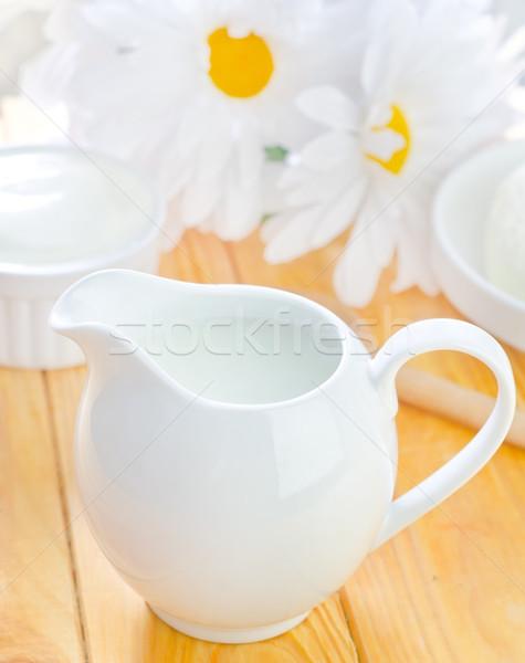 Leite fresco vidro cozinha fazenda café da manhã copo Foto stock © tycoon