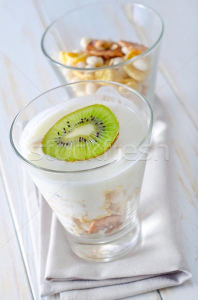 Vers yoghurt müsli glas voedsel vruchten Stockfoto © tycoon