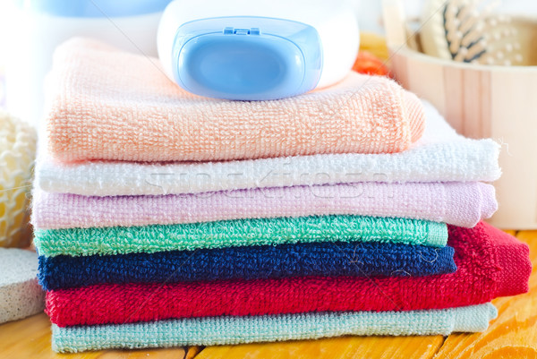 shampoo, body wash and towels Stock photo © tycoon