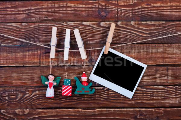 Christmas hout ingericht wasknijper sneeuw veld Stockfoto © tycoon