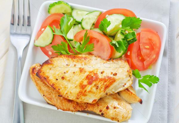 жареная курица лист фон ресторан зеленый пластина Сток-фото © tycoon