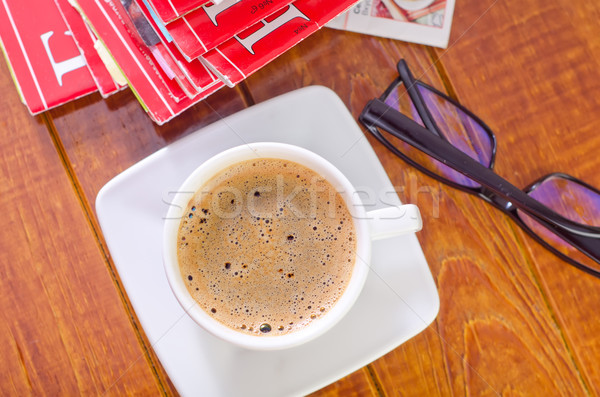Café trabajo periódico gafas estudio Trabajo Foto stock © tycoon