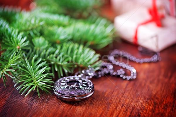 Foto stock: Natal · decoração · tabela · fundo · escuro · papel · de · parede