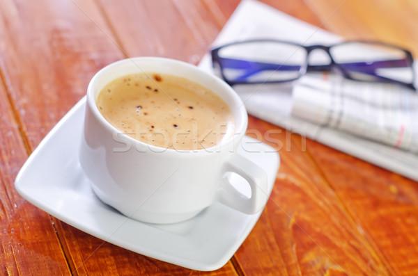 Kahve gazete haber gözlük içmek çalışma Stok fotoğraf © tycoon
