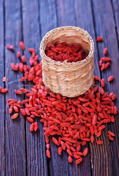 Kuru kırmızı karpuzu tablo gıda meyve Stok fotoğraf © tycoon