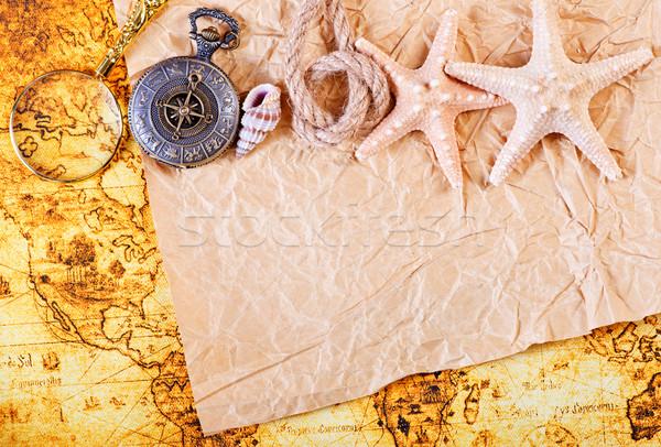 Oude notebook kompas kaart papier Stockfoto © tycoon