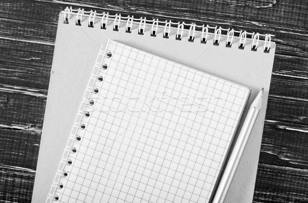 note and pencil on wooden background Stock photo © tycoon