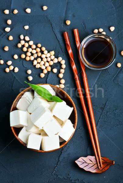 Тофу сыра чаши таблице синий пластина Сток-фото © tycoon