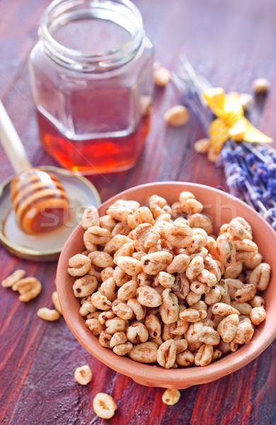 Ontbijt vruchten gezondheid vintage boord honing Stockfoto © tycoon