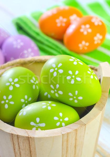 Paaseieren gelukkig ontwerp ei groene leuk Stockfoto © tycoon