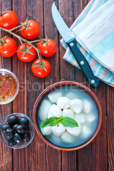 Mozzarella tazón mesa alimentos madera hoja Foto stock © tycoon