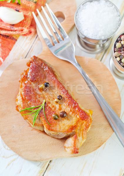 Viande alimentaire bois plaque couteau Photo stock © tycoon