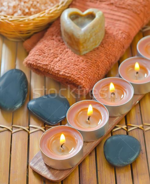 Sal marina jabón velas fuego belleza bar Foto stock © tycoon