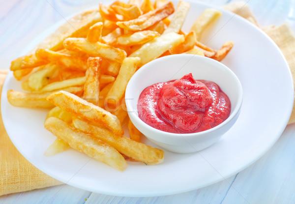 Batata fries molho prato ouro gordura Foto stock © tycoon