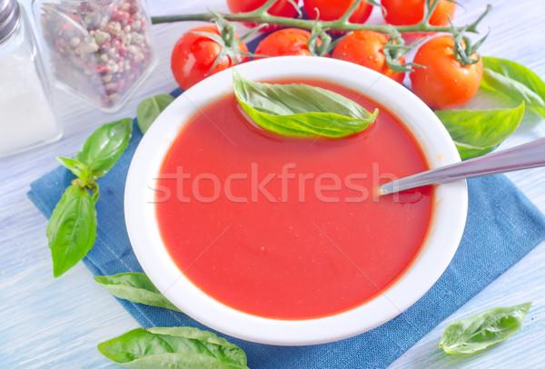 トマトスープ ホーム キッチン 緑 バー プレート ストックフォト © tycoon