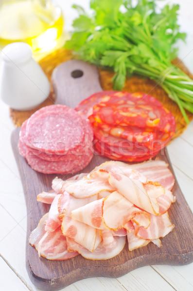 Salami Speck Essen rot Frühstück Fett Stock foto © tycoon