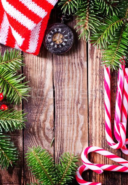 Stok fotoğraf: Noel · dekorasyon · ahşap · masa · ağaç · gıda · arka · plan