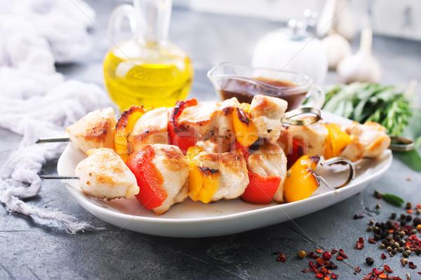 Сток-фото: куриные · кебаб · овощей · пластина · фрукты · мяса