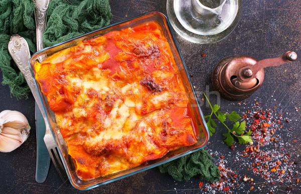Lasagna paradicsomszósz aroma fűszer terv sajt Stock fotó © tycoon