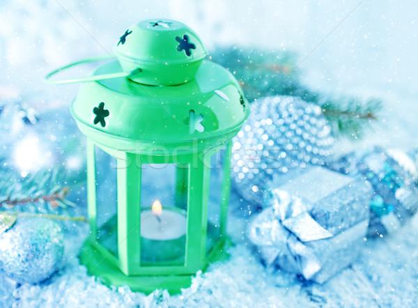 vert lampe no l d coration neige feu photo stock yana gayvoronskaya tycoon. Black Bedroom Furniture Sets. Home Design Ideas