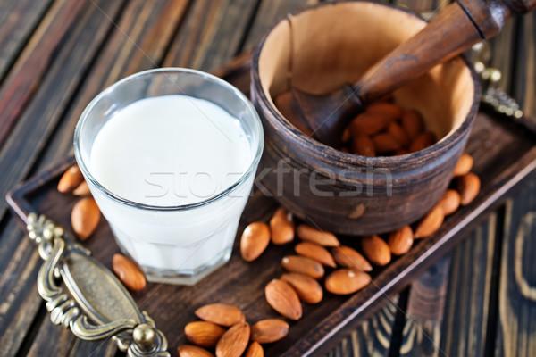 Mandula tej szemüveg asztal étel természet Stock fotó © tycoon