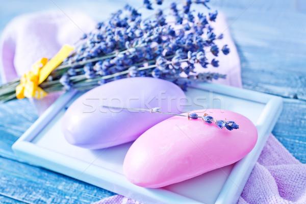 Sabun lavanta mor ahşap masa ahşap vücut Stok fotoğraf © tycoon