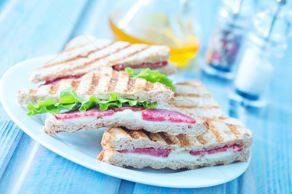 Сток-фото: Бутерброды · пластина · таблице · продовольствие · кофе · фон