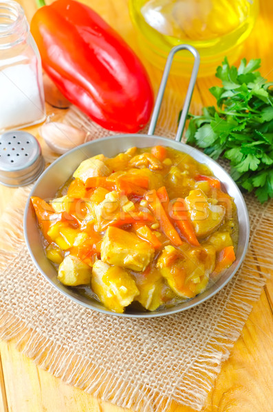 chicken with vegetable in metal plate Stock photo © tycoon