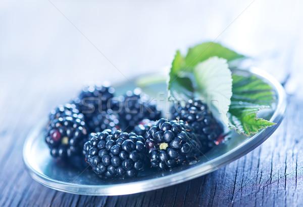 свежие BlackBerry металл чаши таблице фрукты Сток-фото © tycoon