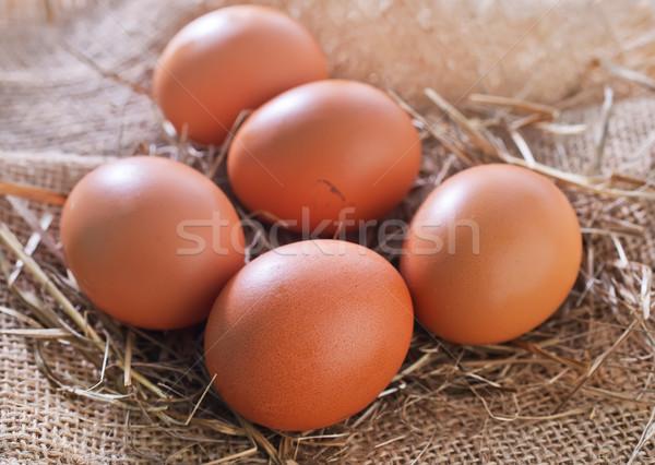 Stock photo: raw chicken eggs