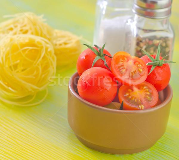 Stok fotoğraf: Makarna · domates · gıda · ahşap · arka · plan · mutfak