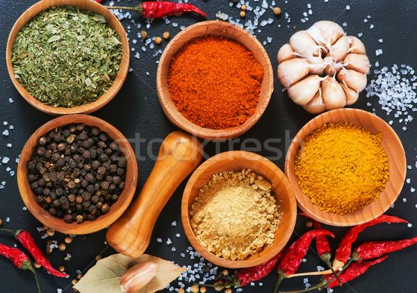 Aroma fűszer fűszer fából készült tál asztal Stock fotó © tycoon
