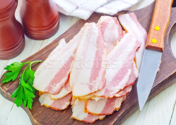 Foto stock: Fumado · bacon · comida · fundo · cozinha · jantar